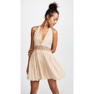 NWT PilyQ 'Celeste' gold lace halter dress